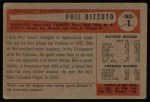 1954 Bowman #1  Phil Rizzuto  Back Thumbnail