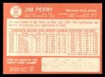 1964 Topps #34  Jim Perry  Back Thumbnail