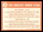 1964 Topps #456   -  Wes Parker / John Werhas Dodgers Rookies Back Thumbnail