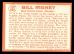 1964 Topps #383  Bill Rigney  Back Thumbnail