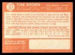 1964 Topps #311  Tom Brown  Back Thumbnail