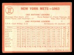 1964 Topps #27   Mets Team Back Thumbnail