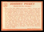 1964 Topps #248  Johnny Pesky  Back Thumbnail
