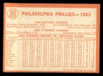 1964 Topps #293   Phillies Team Back Thumbnail