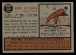 1962 Topps #532  Dick Stigman  Back Thumbnail