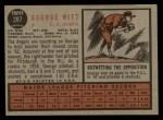 1962 Topps #287  George Witt  Back Thumbnail