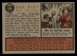 1962 Topps #299  Don Wert  Back Thumbnail
