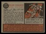 1962 Topps #194 NRM Dean Chance  Back Thumbnail