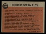 1962 Topps #144 NRM  -  Babe Ruth Farewell Speech Back Thumbnail
