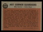 1962 Topps #163 NRM  -  Billy Gardner / Clete Boyer Hot Corner Guardians Back Thumbnail