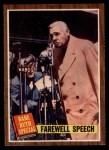 1962 Topps #144 NRM  -  Babe Ruth Farewell Speech Front Thumbnail