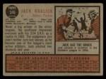 1962 Topps #346  Jack Kralick  Back Thumbnail