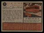 1962 Topps #42  Jim King  Back Thumbnail