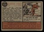 1962 Topps #176 BAT Eddie Yost  Back Thumbnail