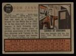 1962 Topps #214  Dom Zanni  Back Thumbnail