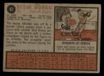 1962 Topps #62  Steve Boros  Back Thumbnail