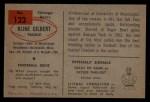 1954 Bowman #123  Kline Gilbert  Back Thumbnail