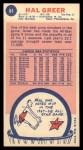 1969 Topps #84  Hal Greer  Back Thumbnail