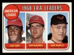 1969 Topps #7   -  Luis Tiant / Sam McDowell / Dave McNally AL ERA Leaders Front Thumbnail