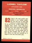 1963 Fleer #82  Lionel Taylor  Back Thumbnail