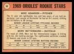 1969 Topps #66   -  Mike Adamson / Merv Rettenmund Orioles Rookies Back Thumbnail