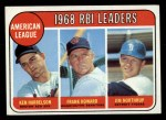 1969 Topps #3   -  Ken Harrelson / Frank Howard / Jim Northrup AL RBI Leaders   Front Thumbnail