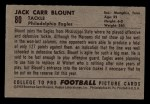 1952 Bowman Small #80  John Blount  Back Thumbnail