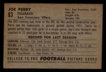 1952 Bowman Small #83  Joe Perry    Back Thumbnail
