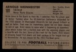 1952 Bowman Small #101  Arnold Weinmeister  Back Thumbnail