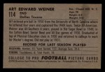 1952 Bowman Small #114  Art Weiner  Back Thumbnail