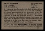 1952 Bowman Small #115  Keith Flowers  Back Thumbnail