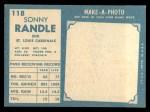 1961 Topps #118  Sonny Randle  Back Thumbnail