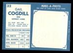 1961 Topps #32  Gail Cogdill  Back Thumbnail