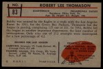 1953 Bowman #83  Bob Thomason  Back Thumbnail