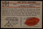 1953 Bowman #39  Leo Sanford  Back Thumbnail