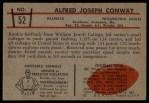 1953 Bowman #52  Alfred Conway  Back Thumbnail