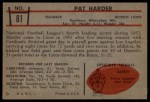 1953 Bowman #81  Pat Harder  Back Thumbnail
