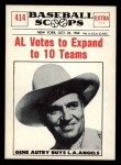 1961 Nu-Card Scoops #414   -   Gene Autry AL Votes to Expand to 10 Teams Front Thumbnail