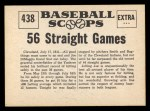1961 Nu-Card Scoops #438   -   Joe DiMaggio 56 Game Hit Streak Back Thumbnail