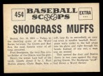 1961 Nu-Card Scoops #454   Fred Snodgrass   Back Thumbnail