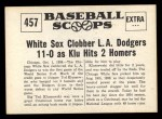 1961 Nu-Card Scoops #457   Ted Kluszewski   Back Thumbnail