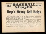 1961 Nu-Card Scoops #464    Ump's Wrong Call  Back Thumbnail