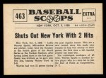 1961 Nu-Card Scoops #463   Spahn Beats Yanks  Back Thumbnail