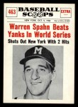 1961 Nu-Card Scoops #463   Spahn Beats Yanks  Front Thumbnail