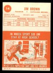 1963 Topps #14  Jim Brown  Back Thumbnail