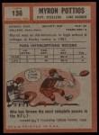 1962 Topps #136  Myron Pottios  Back Thumbnail