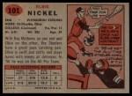 1957 Topps #101  Elbert Nickel  Back Thumbnail