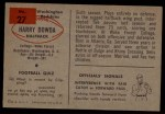 1954 Bowman #27  Harry Dowda  Back Thumbnail