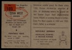 1954 Bowman #103  Stan West  Back Thumbnail