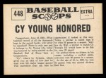 1961 Nu-Card Scoops #448   Cy Young   Back Thumbnail